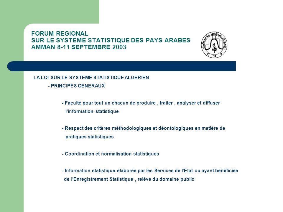FORUM REGIONAL SUR LE SYSTEME STATISTIQUE DES PAYS ARABES AMMAN 8-11 SEPTEMBRE 2003 LA LOI SUR LE SYSTEME STATISTIQUE ALGERIEN - ORGANISATION DU SYSTEME STATISTIQUE - LES ORGANES DE COORDINATION ET DE PRODUCTION - Le Conseil National de Statistique ( CNS) - LInstitution Centrale des Statistiques (ONS) - Les Organes Publics et Privés de Statistiques - LES INSTRUMENTS ET PROCEDURES NORMALISES - Le Numéro dIdentification Statistique (NIS) - LEnregistrement Statistique ( Visa dEnquêtes) - Le Programme National Statistique (PNTS) - Les Codes et Nomenclatures