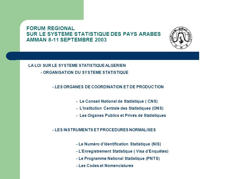 FORUM REGIONAL SUR LE SYSTEME STATISTIQUE DES PAYS ARABES AMMAN 8-11 SEPTEMBRE 2003 LA LOI SUR LE SYSTEME STATISTIQUE ALGERIEN - ORGANISATION DU SYSTE