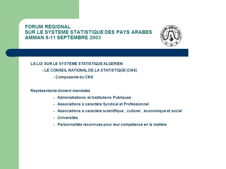 FORUM REGIONAL SUR LE SYSTEME STATISTIQUE DES PAYS ARABES AMMAN 8-11 SEPTEMBRE 2003 LA LOI SUR LE SYSTEME STATISTIQUE ALGERIEN - LE CONSEIL NATIONAL DE LA STATISTIQUE (CNS) - Fonctionnement du CNS - Présidé par le Ministre chargé de la Statistique - 32 Membres nommés par Décret pour 4 ans - Secrétariat Technique assuré par lONS - Dispose dun Bureau de 7 Membres - Dispose de 3 Commissions Spécialisées - Dispose dun Budget pour son fonctionnement - Se réunit 2 fois par an en session ordinaire