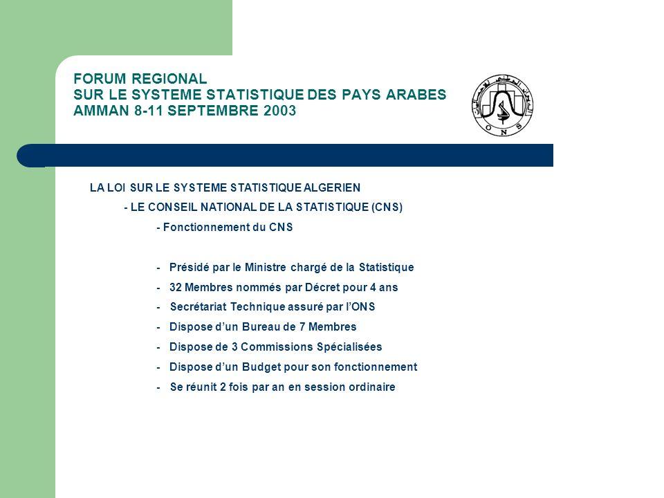 FORUM REGIONAL SUR LE SYSTEME STATISTIQUE DES PAYS ARABES AMMAN 8-11 SEPTEMBRE 2003 LA LOI SUR LE SYSTEME STATISTIQUE ALGERIEN - LINSTITUTION CENTRALE DE STATISTIQUE (ONS) - Établissement Public National doté de prérogatives de puissance publique et disposant de lautonomie financière - Placé sous la Tutelle du Ministre chargé de la Statistique - Missions et Attributions: - Promouvoir et animer le Système National Statistique - Assurer et faire assurer la disponibilité de données statistiques - Coordonner pour le compte du CNS les travaux statistiques - Élaborer et diffuser les principaux indicateurs économiques et sociaux - Élaborer et proposer au CNS pour avis, les règles et instruments techniques en matière de normalisation et de méthodologie - Étudier et gérer pour le compte du CNS les demandes de Visas Statistiques - Tenir et mettre à jour le Répertoire National des Agents Économiques auxquels est attribué le Numéro dIdentification Statistique (NIS)
