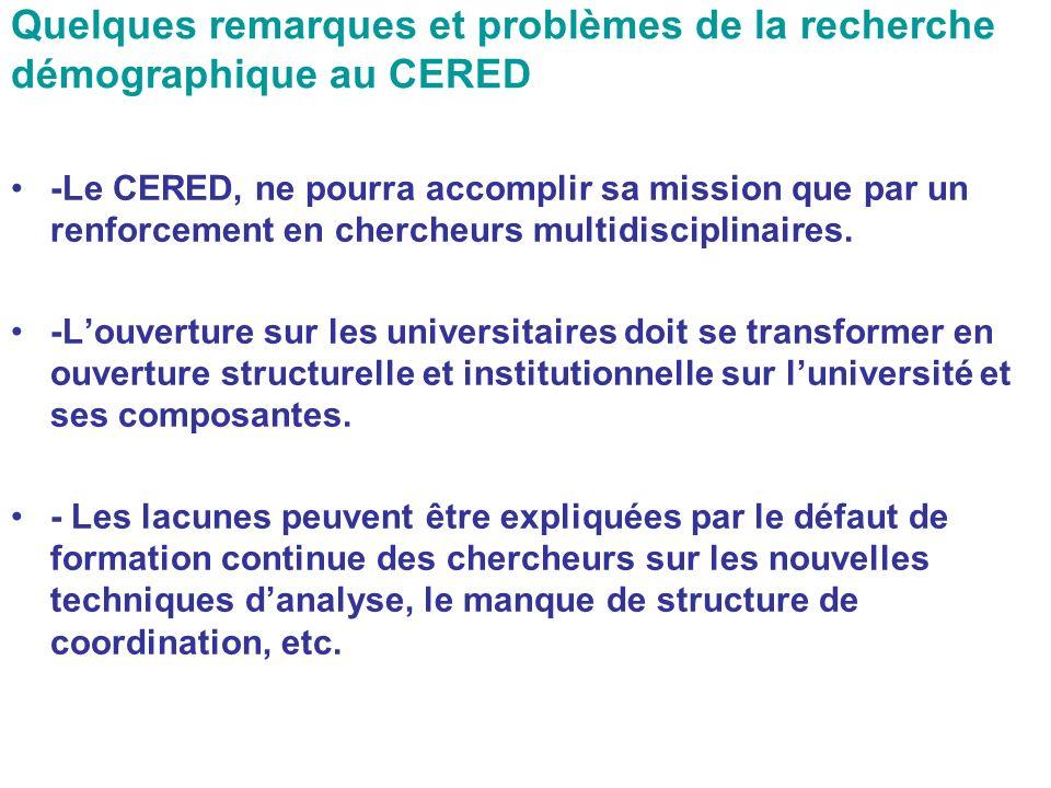 Quelques remarques et problèmes de la recherche démographique au CERED -Le CERED, ne pourra accomplir sa mission que par un renforcement en chercheurs