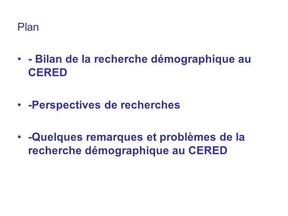 Plan - Bilan de la recherche démographique au CERED -Perspectives de recherches -Quelques remarques et problèmes de la recherche démographique au CERE