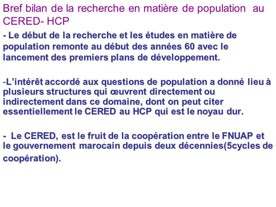 Bref bilan de la recherche en matière de population au CERED-HCP Le CERED du HCP réalise, chaque année, des recherches et études en appui à lélaboration du rapport national sur la politique de population et des rapports sectoriels et régionaux.