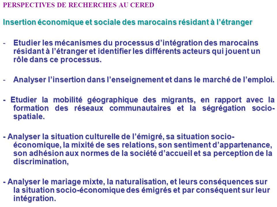 PERSPECTIVES DE RECHERCHES AU CERED Insertion économique et sociale des marocains résidant à létranger -Etudier les mécanismes du processus dintégrati