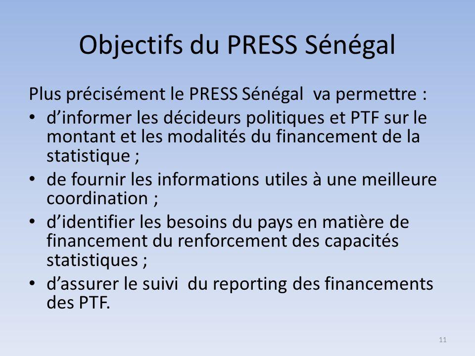 Objectifs du PRESS Sénégal Plus précisément le PRESS Sénégal va permettre : dinformer les décideurs politiques et PTF sur le montant et les modalités du financement de la statistique ; de fournir les informations utiles à une meilleure coordination ; didentifier les besoins du pays en matière de financement du renforcement des capacités statistiques ; dassurer le suivi du reporting des financements des PTF.