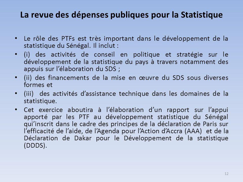 La revue des dépenses publiques pour la Statistique Le rôle des PTFs est très important dans le développement de la statistique du Sénégal. Il inclut