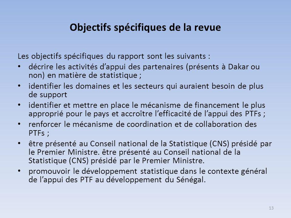 Objectifs spécifiques de la revue Les objectifs spécifiques du rapport sont les suivants : décrire les activités dappui des partenaires (présents à Da