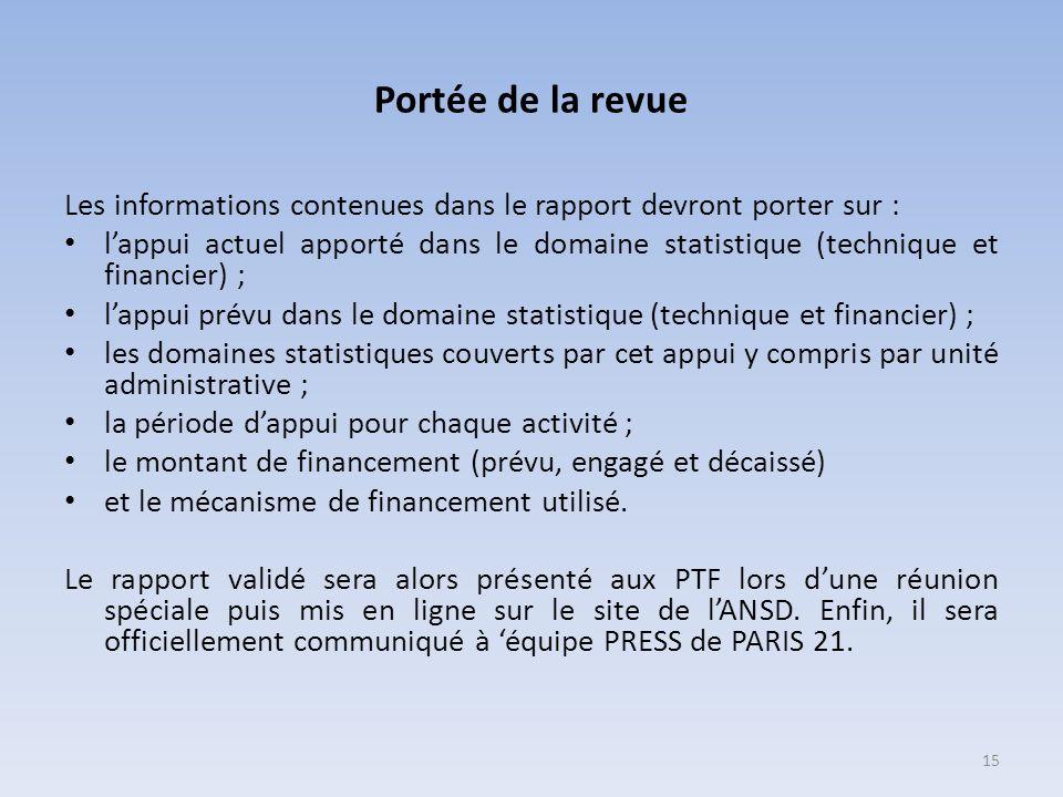Portée de la revue Les informations contenues dans le rapport devront porter sur : lappui actuel apporté dans le domaine statistique (technique et fin
