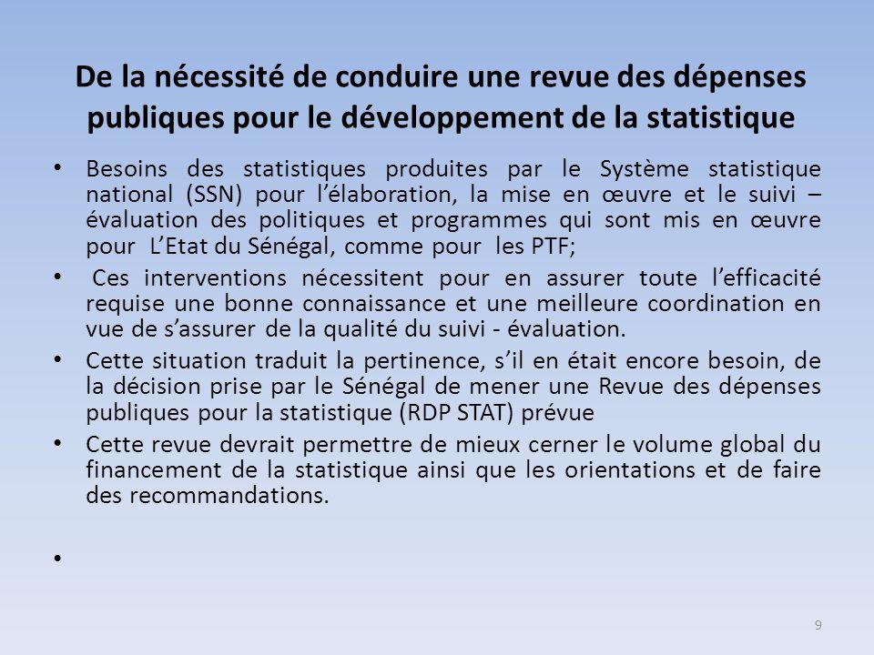 De la nécessité de conduire une revue des dépenses publiques pour le développement de la statistique Besoins des statistiques produites par le Système