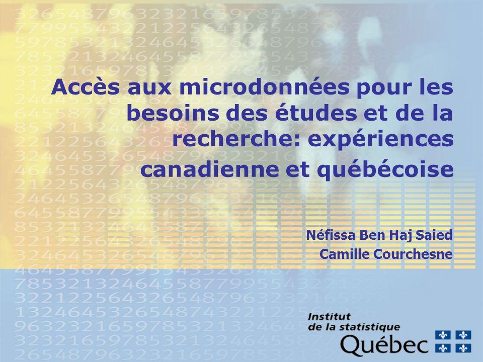 2 Objectif de la présentation Présenter les expériences canadienne et québécoise en matière daccès aux microdonnées Statistique Canada Institut de la Statistique du Québec (ISQ) Moyens adoptés et mesures mis en place afin de faciliter cet accès dans le cadre du respect des lois et réglementations en place