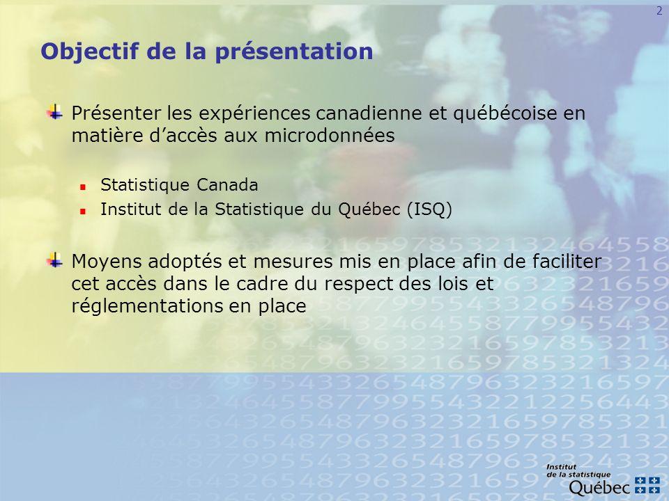 3 Plan de la présentation Approche canadienne Les centres de données de recherche (CDR) Origines Objectifs Réseau Processus daccès aux microdonnées Laccès aux données à distance (ADD) Origines Objectifs Processus daccès aux microdonnées
