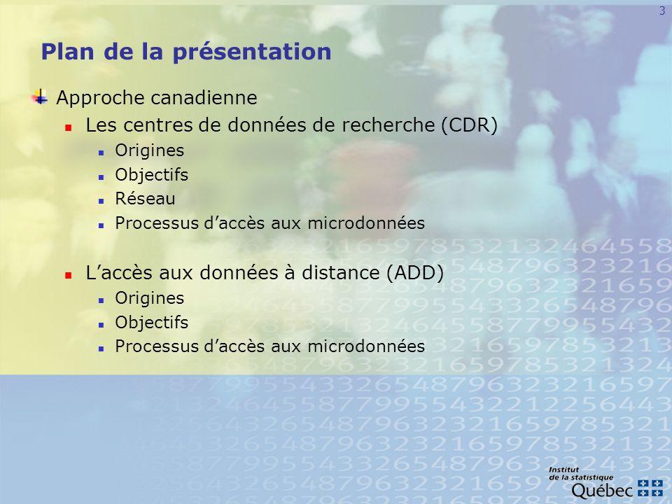 4 Plan de la présentation (suite) Approche québécoise Contexte légal québécois Contexte légal isquois Cadre normatif général à lISQ Orientation stratégique Centre daccès aux données de recherche de lISQ (CADRISQ) Projets pilotes daccès à distance sécurisé Conclusion