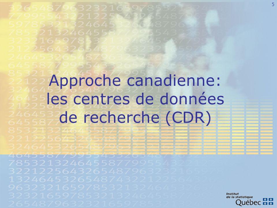 6 Origine des CDR Recommandation de lInitiative canadienne sur les statistiques sociales en 1998 «Nous recommandons que le CRSH et Statistique Canada établissent conjointement un système national de centres daccès aux données de recherche, qui permettraient aux chercheurs de consulter les microdonnées détaillées pour les besoins de leurs travaux, tout en assurant le respect des dispositions de la Loi sur la statistique en matière de protection de la confidentialité.