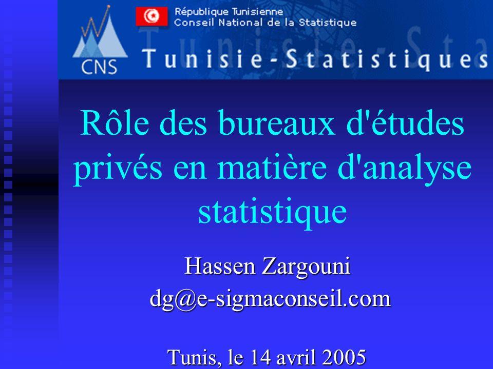 Rôle des bureaux d'études privés en matière d'analyse statistique Hassen Zargouni dg@e-sigmaconseil.com dg@e-sigmaconseil.com Tunis, le 14 avril 2005