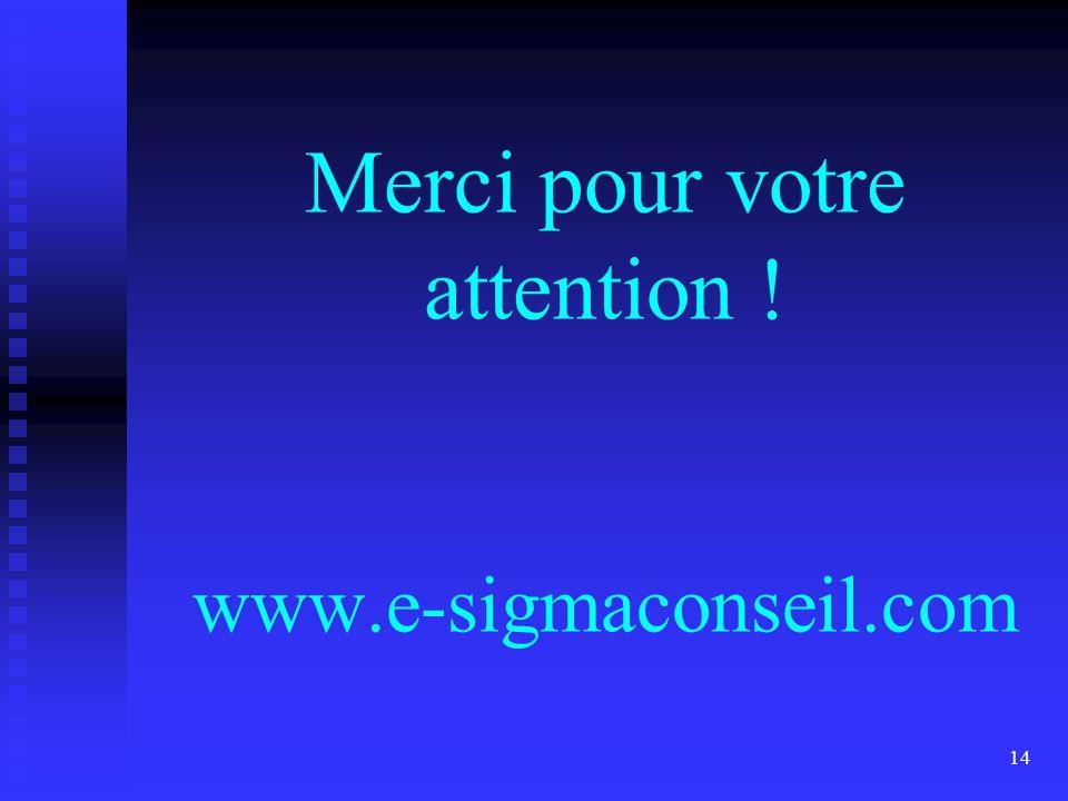 14 Merci pour votre attention ! www.e-sigmaconseil.com
