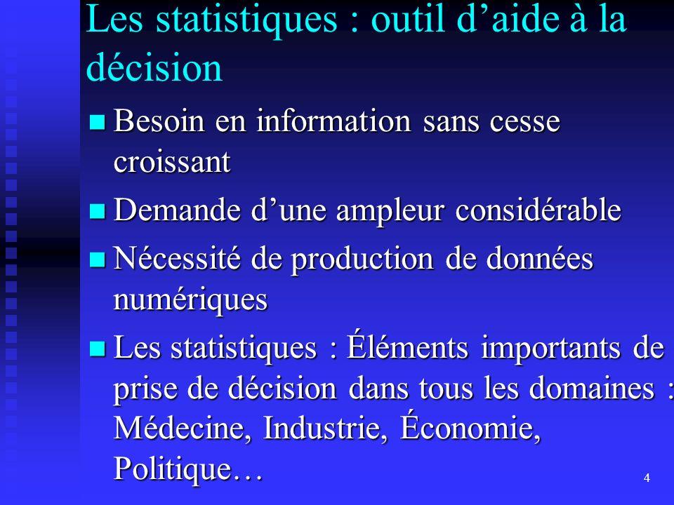 4 Les statistiques : outil daide à la décision Besoin en information sans cesse croissant Besoin en information sans cesse croissant Demande dune ampl