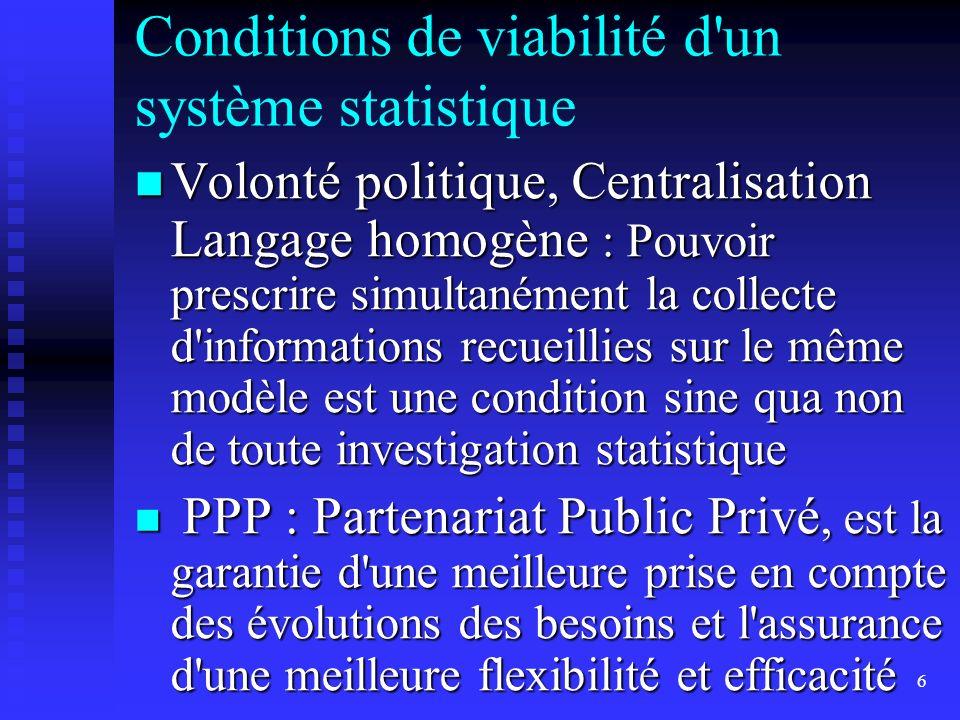 6 Conditions de viabilité d'un système statistique Volonté politique, Centralisation Langage homogène : Pouvoir prescrire simultanément la collecte d'