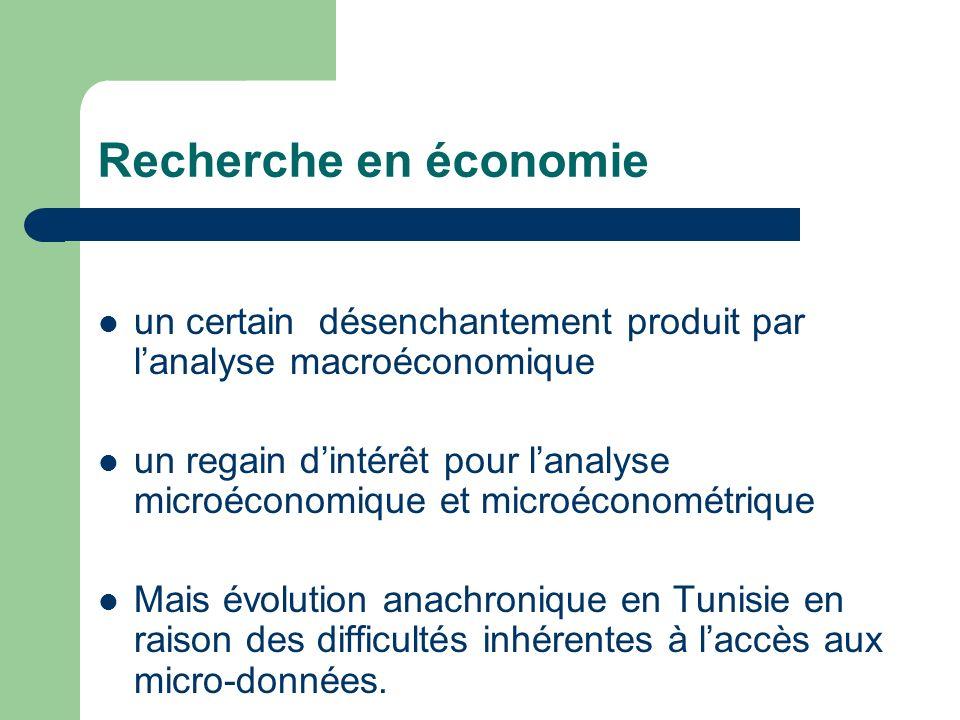 Recherche en économie un certain désenchantement produit par lanalyse macroéconomique un regain dintérêt pour lanalyse microéconomique et microéconomé