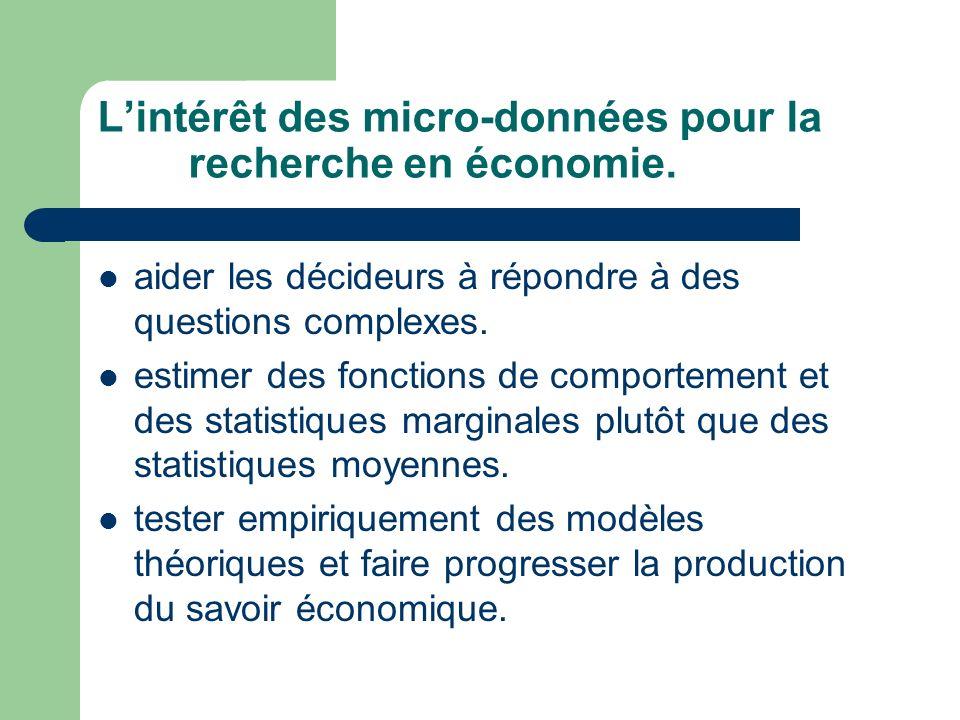 Lintérêt des micro-données pour la recherche en économie. aider les décideurs à répondre à des questions complexes. estimer des fonctions de comportem