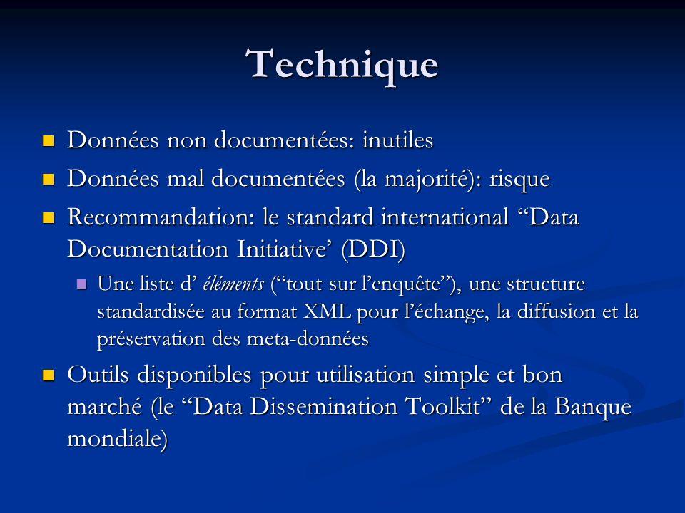 Technique Données non documentées: inutiles Données non documentées: inutiles Données mal documentées (la majorité): risque Données mal documentées (l