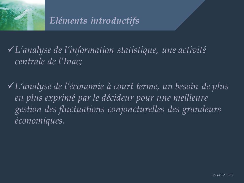 INAC © 2005 Eléments introductifs Lanalyse de linformation statistique, une activité centrale de lInac; Lanalyse de léconomie à court terme, un besoin de plus en plus exprimé par le décideur pour une meilleure gestion des fluctuations conjoncturelles des grandeurs économiques.