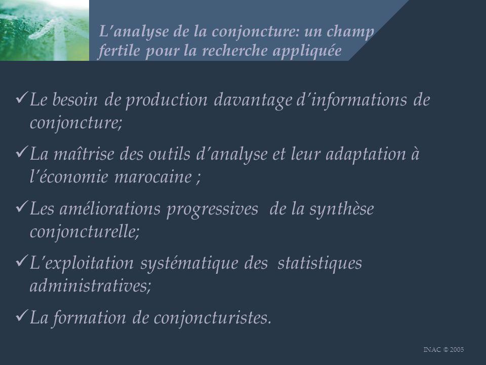 INAC © 2005 Lanalyse de la conjoncture: un champ fertile pour la recherche appliquée Le besoin de production davantage dinformations de conjoncture; L