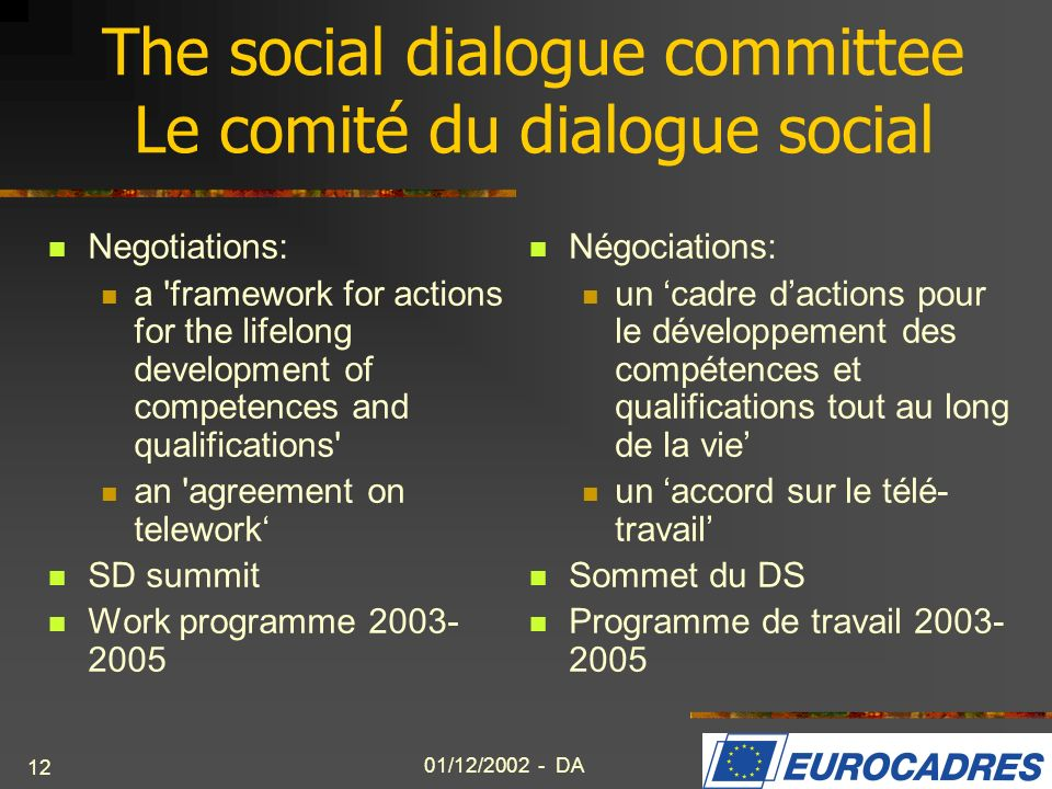 01/12/2002 - DA 12 The social dialogue committee Le comité du dialogue social Negotiations: a 'framework for actions for the lifelong development of c