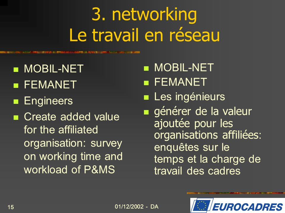 01/12/2002 - DA 15 3. networking Le travail en réseau MOBIL-NET FEMANET Engineers Create added value for the affiliated organisation: survey on workin