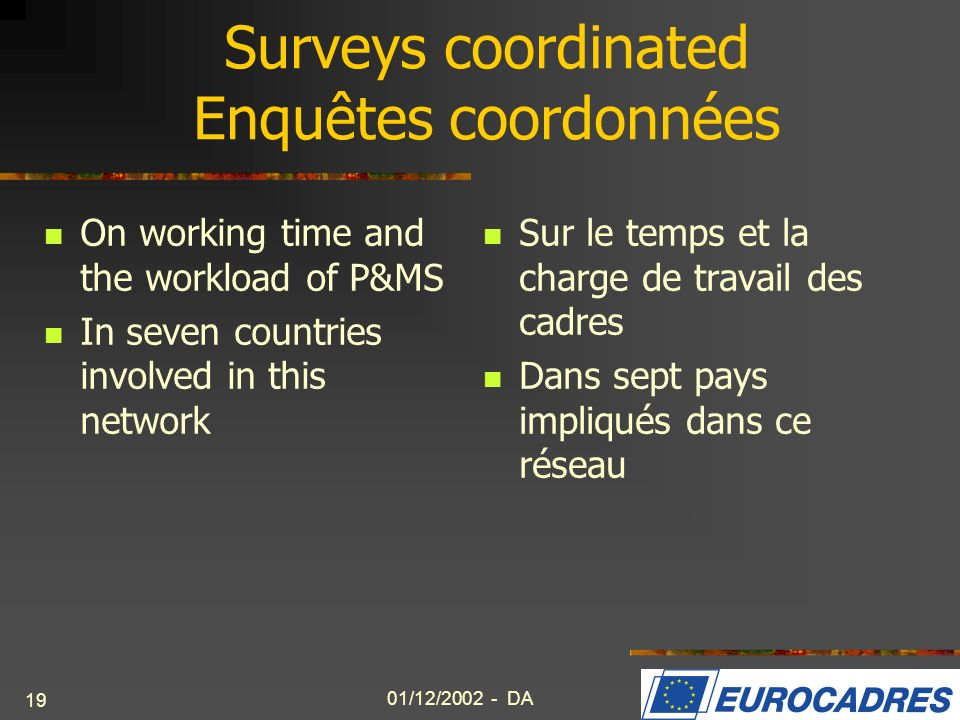 01/12/2002 - DA 19 Surveys coordinated Enquêtes coordonnées On working time and the workload of P&MS In seven countries involved in this network Sur l