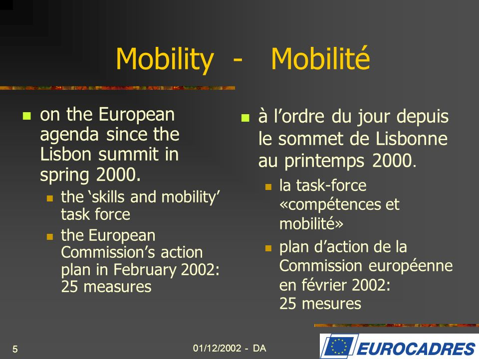 01/12/2002 - DA 5 Mobility - Mobilité on the European agenda since the Lisbon summit in spring 2000. the skills and mobility task force the European C