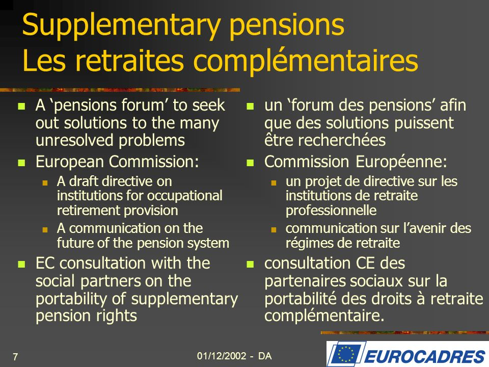 01/12/2002 - DA 8 European management model – CSR Modèle européen de management – RSE EUROCADRES response to the ECs Green Paper on CSR EC Communication: an EU Multi-stakeholder Forum with the aim of promoting CSR the Forum should develop a common approach, principles and guidelines based on good industrial relations.