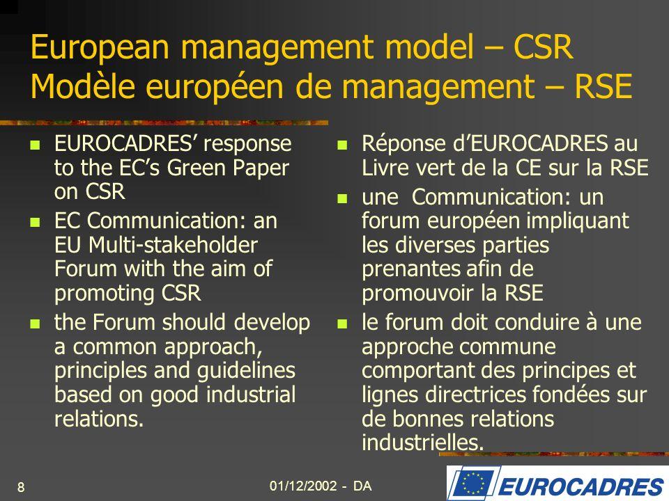 01/12/2002 - DA 9 Future of Europe Lavenir de lEurope EUROCADRES plays an active role in the ETUC working group.