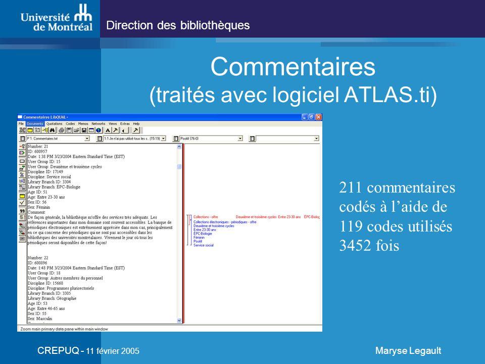 Direction des bibliothèques CREPUQ - 11 février 2005 Maryse Legault Commentaires (traités avec logiciel ATLAS.ti) 211 commentaires codés à laide de 119 codes utilisés 3452 fois