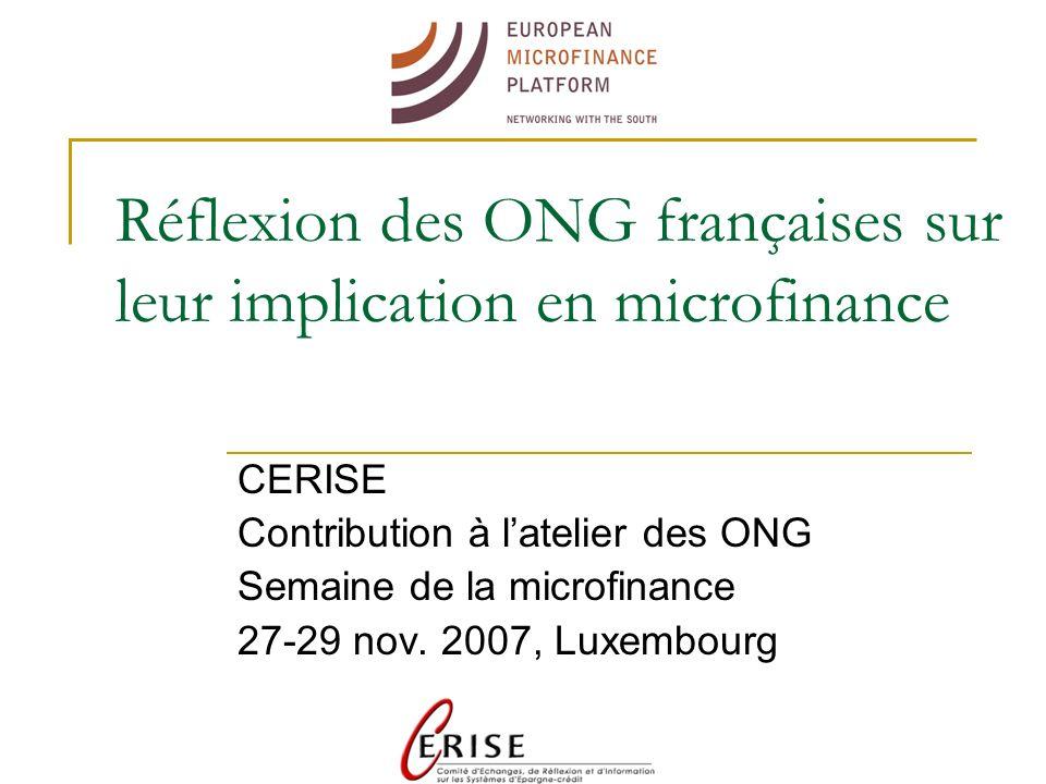 En bref, le contexte Dès 2005, des réflexions avec la Commission Européenne et les Etats membres sur lévolution du rôle des ONG et leur place aujourdhui dans la microfinance Une note récente préparée par CERISE Une réflexion collective des ONG françaises sur les enjeux du secteur de la microfinance
