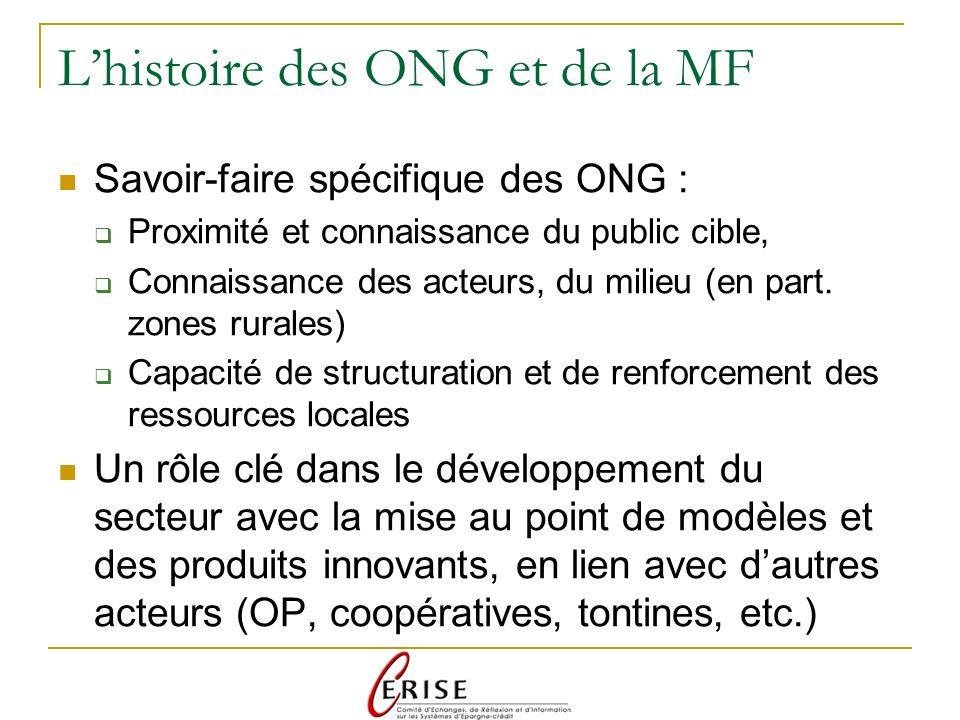 Lhistoire des ONG et de la MF Savoir-faire spécifique des ONG : Proximité et connaissance du public cible, Connaissance des acteurs, du milieu (en part.