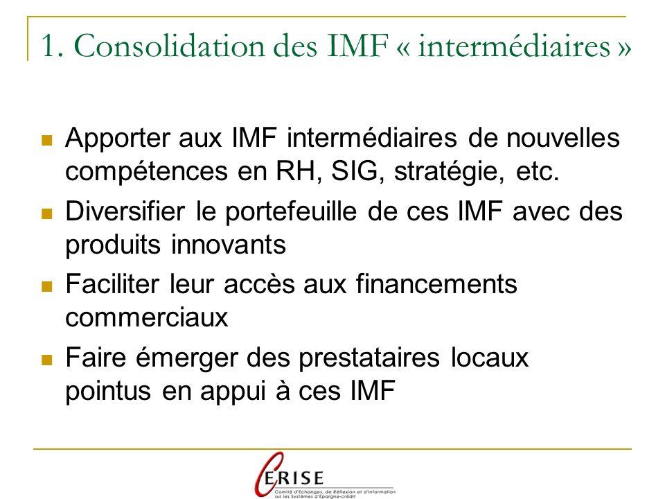 1. Consolidation des IMF « intermédiaires » Apporter aux IMF intermédiaires de nouvelles compétences en RH, SIG, stratégie, etc. Diversifier le portef