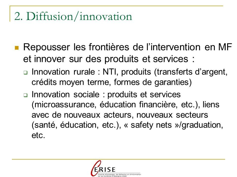 2. Diffusion/innovation Repousser les frontières de lintervention en MF et innover sur des produits et services : Innovation rurale : NTI, produits (t