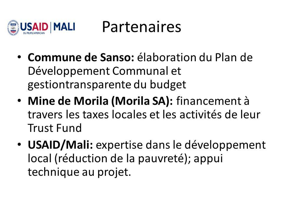 Partenaires Commune de Sanso: élaboration du Plan de Développement Communal et gestiontransparente du budget Mine de Morila (Morila SA): financement à