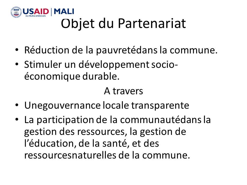 Objet du Partenariat Réduction de la pauvretédans la commune. Stimuler un développement socio- économique durable. A travers Unegouvernance locale tra