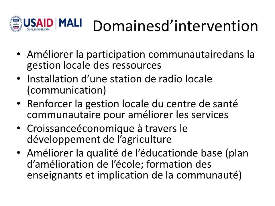 Domainesdintervention Améliorer la participation communautairedans la gestion locale des ressources Installation dune station de radio locale (communi