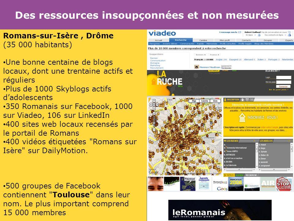 Des ressources insoupçonnées et non mesurées Romans-sur-Isère, Drôme (35 000 habitants) Une bonne centaine de blogs locaux, dont une trentaine actifs