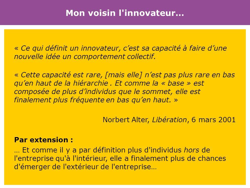 Mon voisin l'innovateur… « Ce qui définit un innovateur, cest sa capacité à faire dune nouvelle idée un comportement collectif. « Cette capacité est r