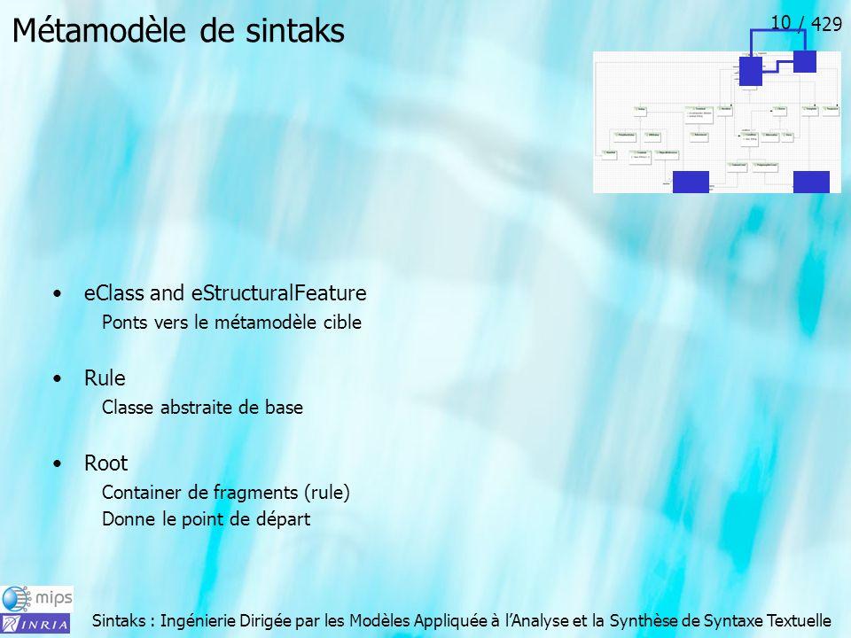 Sintaks : Ingénierie Dirigée par les Modèles Appliquée à lAnalyse et la Synthèse de Syntaxe Textuelle / 429 10 Métamodèle de sintaks eClass and eStruc