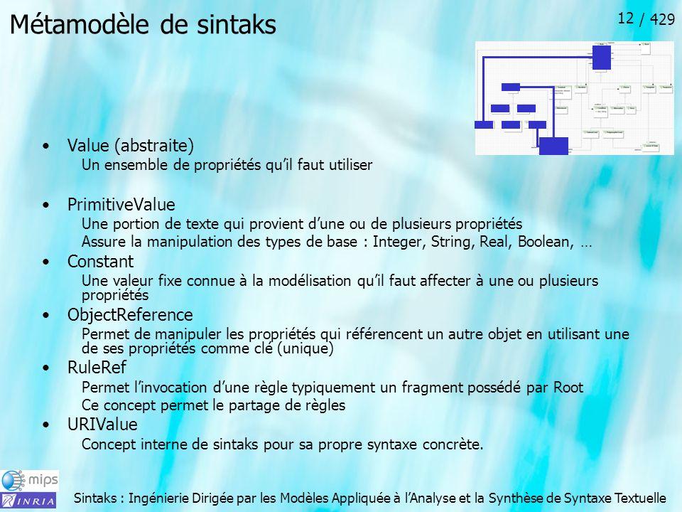 Sintaks : Ingénierie Dirigée par les Modèles Appliquée à lAnalyse et la Synthèse de Syntaxe Textuelle / 429 12 Métamodèle de sintaks Value (abstraite)