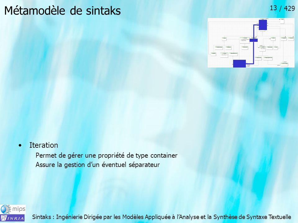 Sintaks : Ingénierie Dirigée par les Modèles Appliquée à lAnalyse et la Synthèse de Syntaxe Textuelle / 429 13 Métamodèle de sintaks Iteration Permet