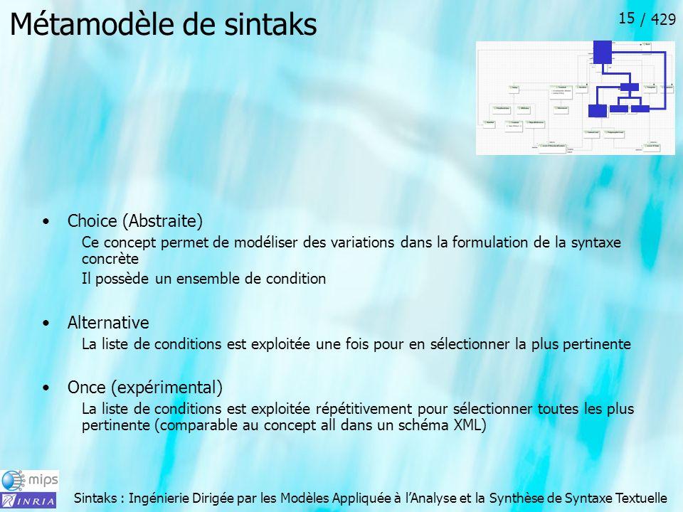 Sintaks : Ingénierie Dirigée par les Modèles Appliquée à lAnalyse et la Synthèse de Syntaxe Textuelle / 429 15 Métamodèle de sintaks Choice (Abstraite
