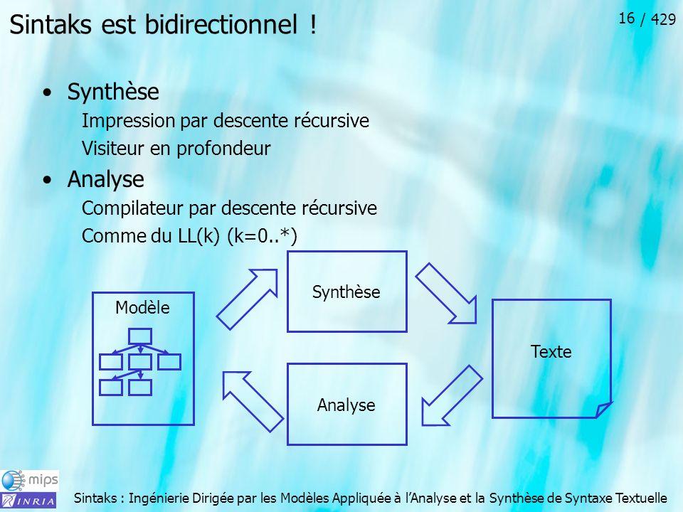 Sintaks : Ingénierie Dirigée par les Modèles Appliquée à lAnalyse et la Synthèse de Syntaxe Textuelle / 429 16 Texte Sintaks est bidirectionnel ! Synt