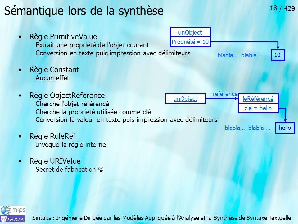 Sintaks : Ingénierie Dirigée par les Modèles Appliquée à lAnalyse et la Synthèse de Syntaxe Textuelle / 429 18 Sémantique lors de la synthèse Règle Pr