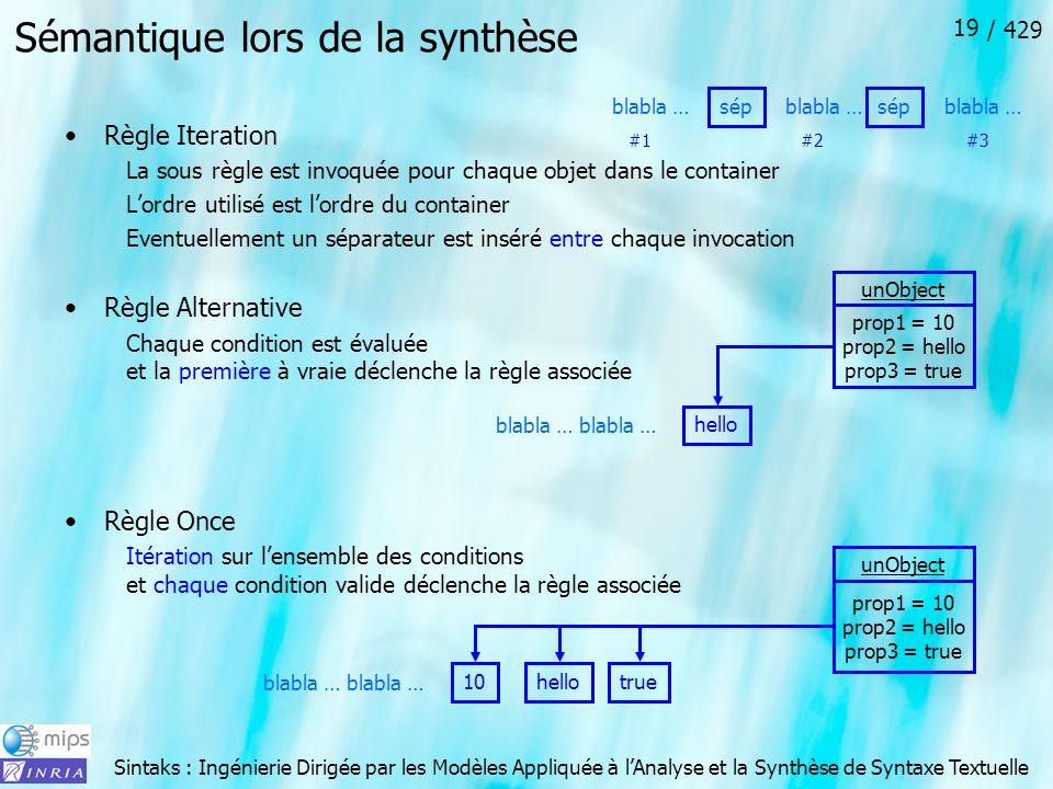 Sintaks : Ingénierie Dirigée par les Modèles Appliquée à lAnalyse et la Synthèse de Syntaxe Textuelle / 429 19 Sémantique lors de la synthèse Règle It