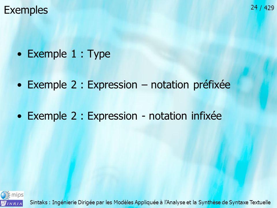 Sintaks : Ingénierie Dirigée par les Modèles Appliquée à lAnalyse et la Synthèse de Syntaxe Textuelle / 429 24 Exemples Exemple 1 : Type Exemple 2 : E